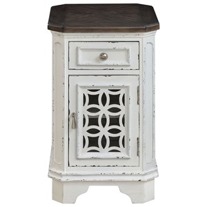 Relaxed Vintage 1-Door, 1-Drawer Chairside Cabinet