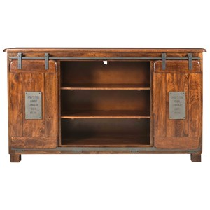Industrial 8-Drawer Media Credenza with Two Sliding Doors