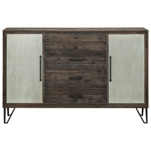 Industrial Two Door, Five Drawer Credenza