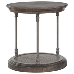 Transitional Round End Table with Metal Legs