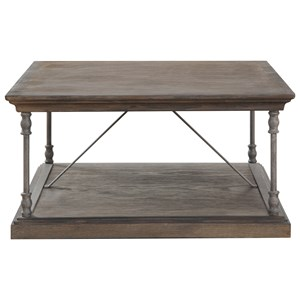 Transitional Square Cocktail Table with Metal Legs and Casters