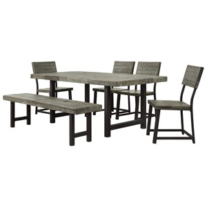 Industrial Six Piece Dining Set with Bench