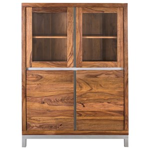 Contemporary Four Door Tall Cabinet with Metal Accents