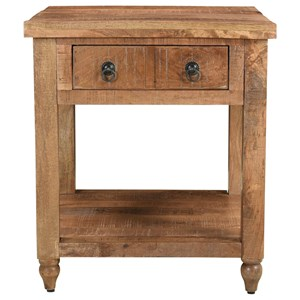 Rustic 1-Drawer End Table with Open Bottom Shelf