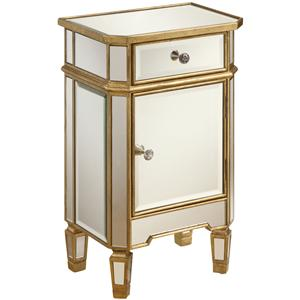 Mirrored Accent Cabinet with Gold Wood Finish