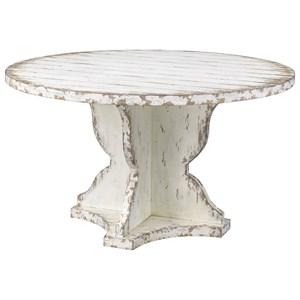 Vintage Round Dining Table in Distressed Finish
