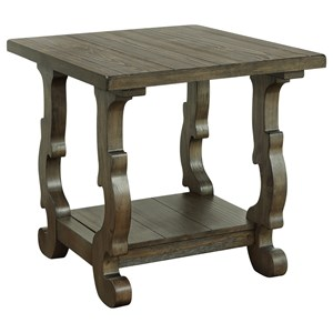 Traditional Rectangular End Table with Shelf