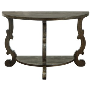 Traditional Demilune Console Table with Shelf