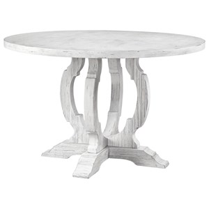 Traditional Round Dining Table with White Finish