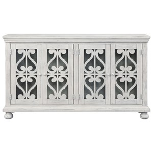 Traditional Four Door TV Stand with White Finish