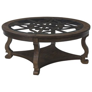 Round Cocktail Table with Bottom Shelf