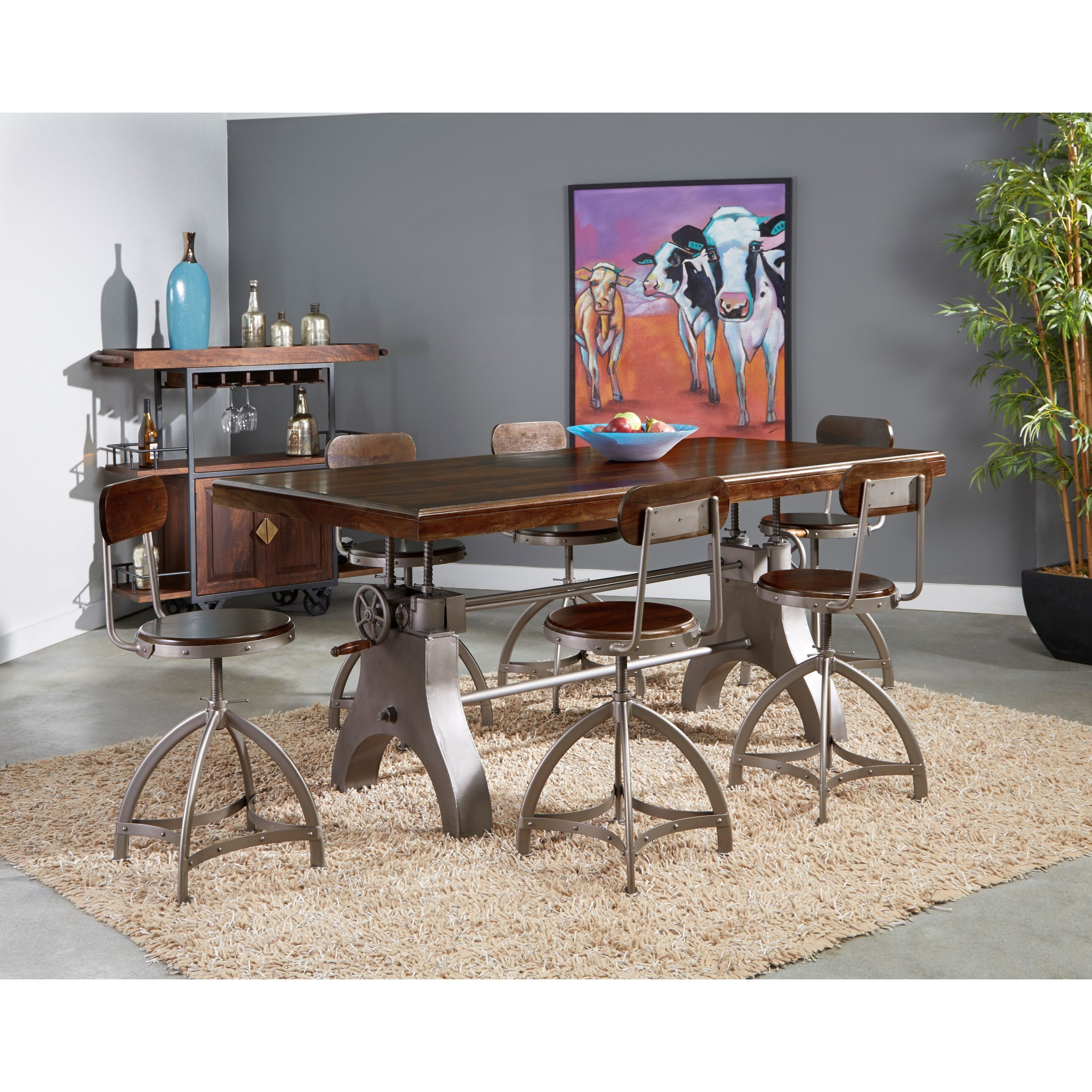 Tacoma 7-Piece Pub Dining Table and Chair Set by C2C at Walker's Furniture