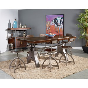 Industrial 7-Piece Pub Dining Table and Chair Set with Adjustable Height