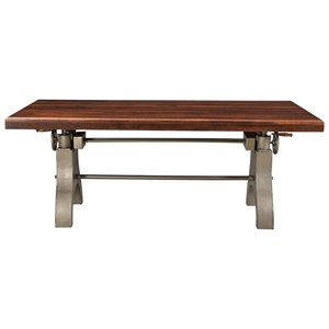 Industrial Dining Table with Adjustable Height