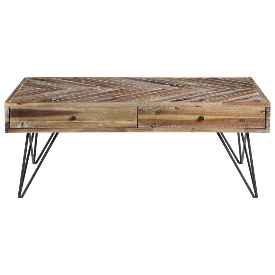 Vail Two Drawer Cocktail Table by C2C at Walker's Furniture