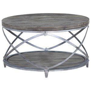 Contemporary Round Cocktail Table with Bottom Shelving