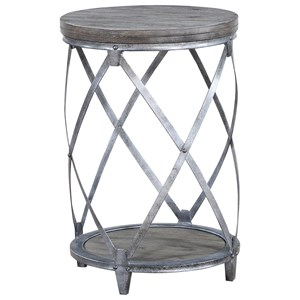 Contemporary Round Accent Table with Bottom Shelving