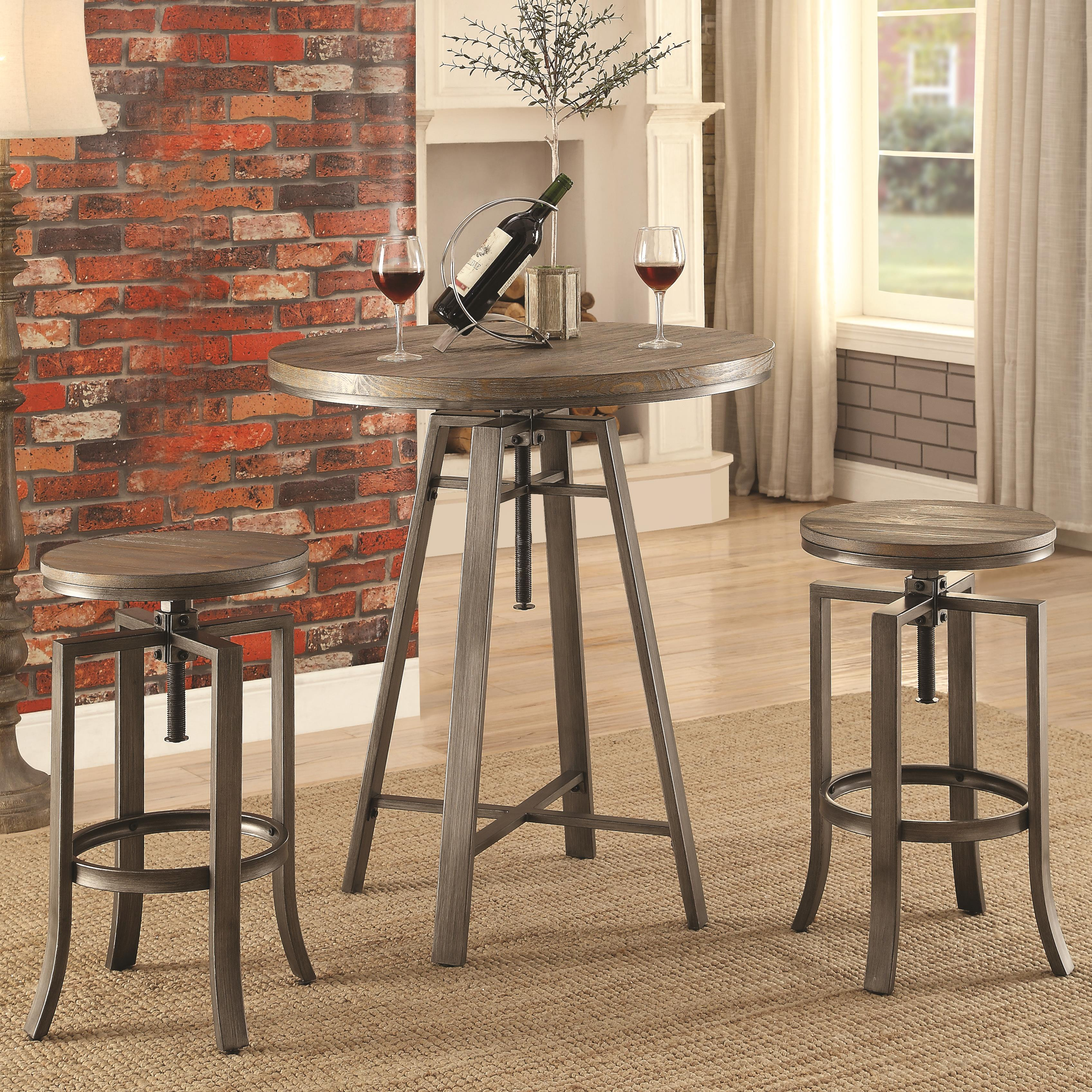 10181 3 Pc Adjustable Pub Table Set by Coaster at Prime Brothers Furniture