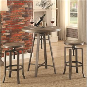 Three Piece Adjustable Height Pub Table and Stool Set