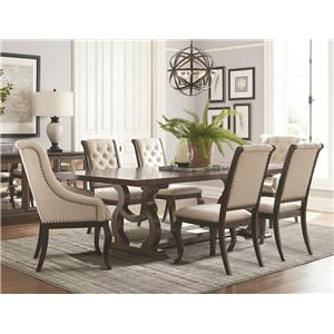 Trestle Dining Table, 2 Upholstered Wing Chairs & 4 Upholstered Side Chairs