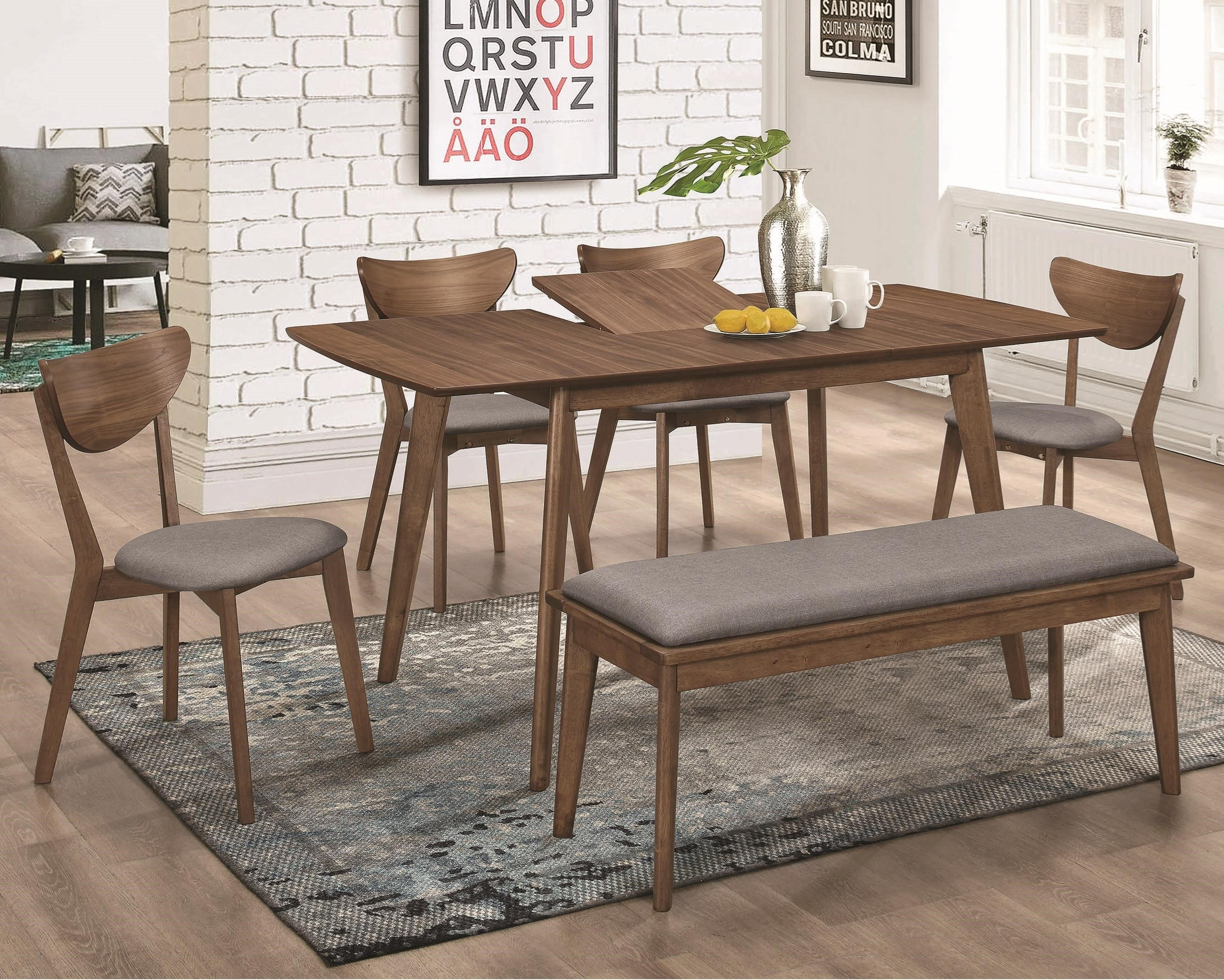 1080 Table and Chair Set with Bench by Coaster at A1 Furniture & Mattress