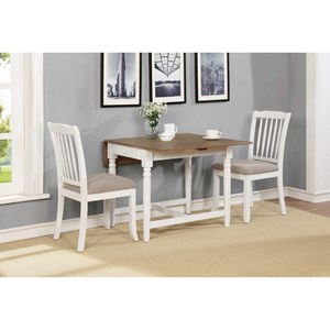 Casual 3 Piece Dining Set with Drop Leaves and Storage Drawer