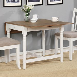 Casual Dining Table with Drop Leaves and Storage Drawer