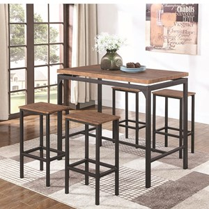 Industrial Table and Chair Set for Four