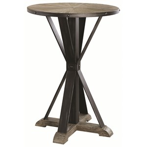 Industrial Wood and Metal Bar Height Pub Table