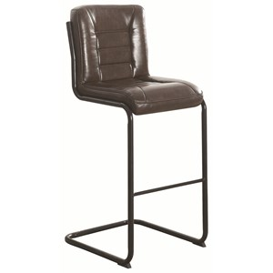 Industrial Bar Stool in Brown Leatherette