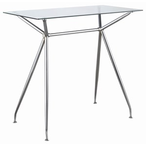 Contemporary Chrome Finish Rectangular Bar Table with Glass Top