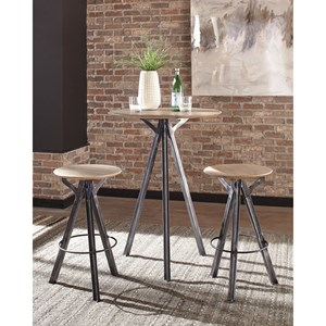 3 Piece Wood Top Bar Table and Stool Set