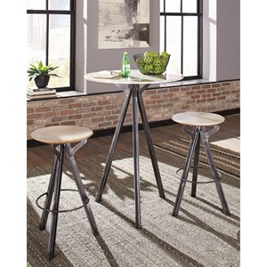 3 Piece Marble Top Bar Table and Stool Set