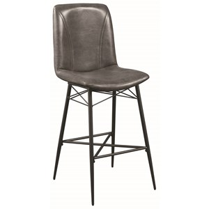 Industrial Bar Stool in Grey Leatherette