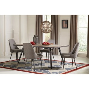 Industrial 5 Piece Dining Set with Upholstered Chairs