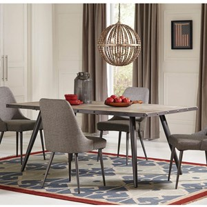 Industrial Dining Table with Metal Edge Banding