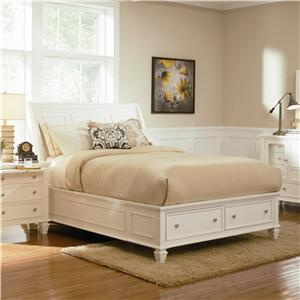 Queen Sleigh Bed with Footboard Storage