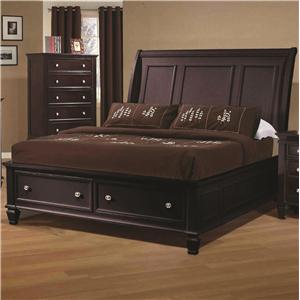 California King Sleigh Bed with Footboard Storage