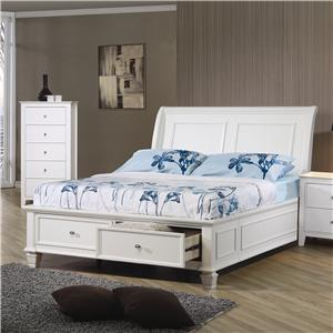 Twin Sleigh Bed with Footboard Storage