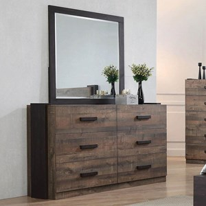 Contemporary Dresser and Mirror Combination with Felt-Lined Top Drawers