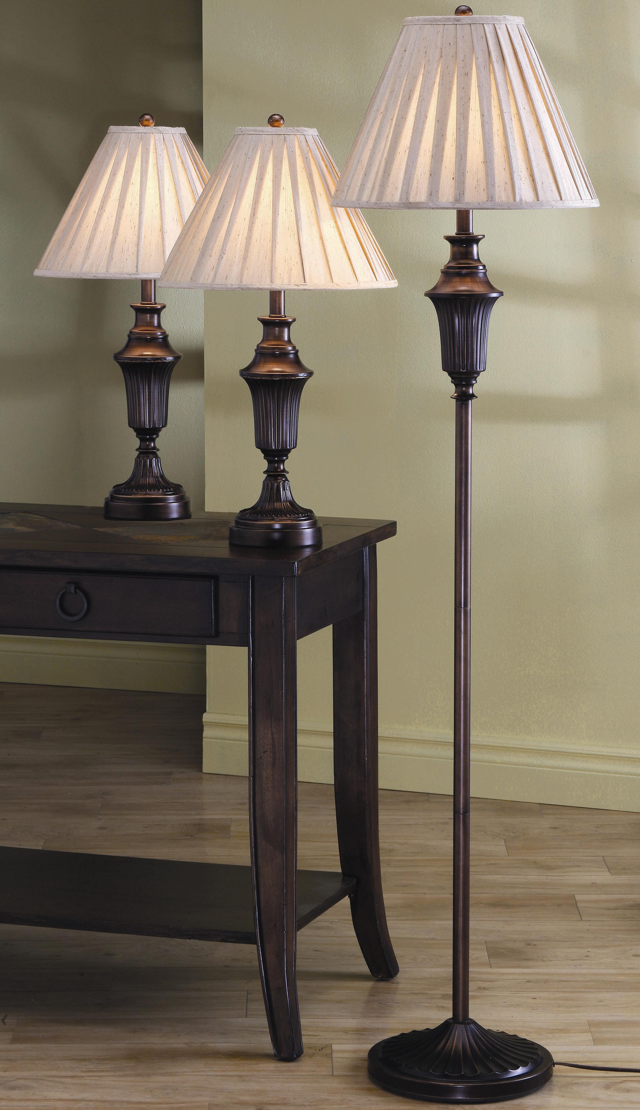 3 Pack Lamp Sets 3 Piece Lamp Set by Coaster at Value City Furniture