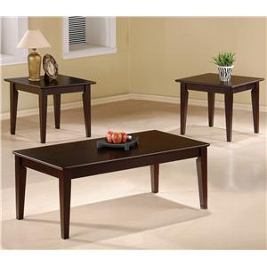 3 Piece Occasional Table Set with Tapered Legs