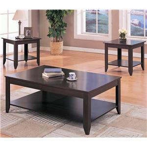 Contemporary 3 Piece Occasional Table Set with Shelves