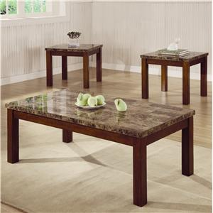 3 Piece Occasional Table Set with Marble Look Top