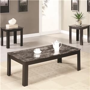 Coffee and End Table Set w/ Marble-Looking Top