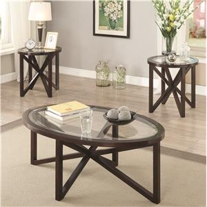 3 Piece Accent Table Set with Tempered Glass Top