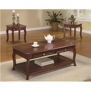 Traditional 3 Piece Occasional Table Set with Parquet Top