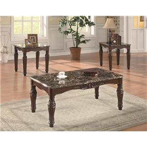 3-Piece Traditional Faux Marble Occasional Table Set