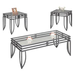 Contemporary 3 Piece Occasional Table Set with Glass Tops