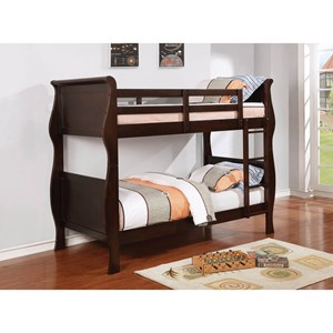 Traditional Twin Bunk Bed with Curved Sides